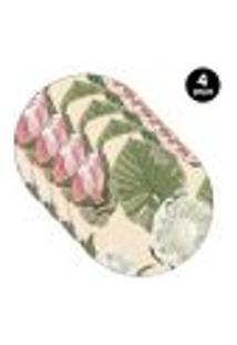 Sousplat Mdecore Floral 35X35Cm Bege 4Pçs