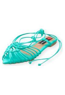 Sandalia Love Shoes Rasteira Bico Folha Amarraçáo Tirinhas Verde Água