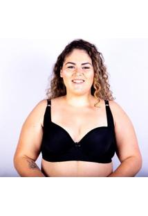 Sutiã Plus Size Jam Lingerie Bojo Gatria Reforçado Feminino - Feminino-Preto