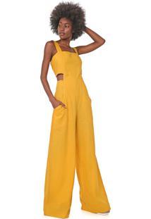Macacão Linho Dress To Pantalona Cut Out Amarelo