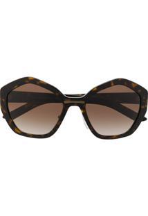 Prada Eyewear Óculos De Sol Oversized Com Efeito Tartaruga - Marrom