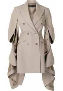 Y/Project Vestido Blazer Com Drapeado Lateral - Marrom