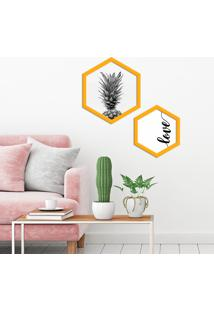 Kit 2 Quadros Com Moldura Hexagonal Love Pinneaple