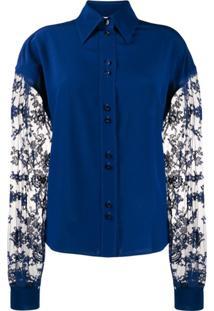 Givenchy Blusa Mangas Longas Com Renda Floral - Azul