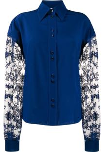 Givenchy Floral Lace Long-Sleeved Blouse - Azul