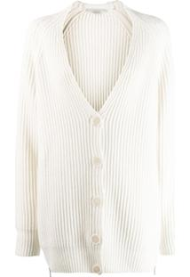 Stella Mccartney Chunky Ribbed Knit Cardigan - Neutro