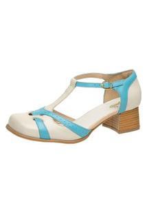 Sapato Bico Quadrado Ref: 3165 Off White / Piscina