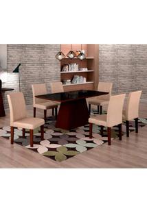 Conjunto De Mesa De Jantar Luna Com 6 Cadeiras Ane I Veludo Castor, Preto E Creme