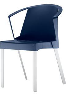 Cadeira Shine Assento Azul Com Bracos Base Aluminio Cinza - 54100 - Sun House