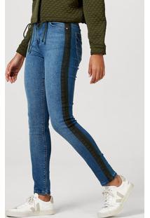 Calça Skinny Feminina Em Jeans De Algodão Com Bolso