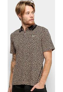 Camisa Polo Lacoste Animal Print Live Masculina - Masculino-Bege
