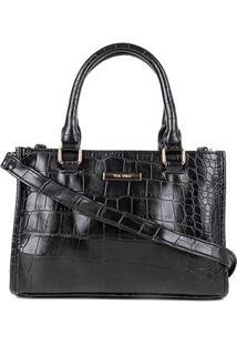 Bolsa Via Uno Handbag Eco Croco Feminina - Feminino-Preto