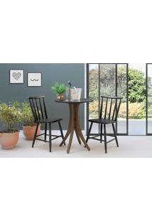 Mesa Com Duas Cadeiras Redonda Juliette - Nogueira E Preto