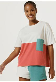 Blusa Feminina Color Block Com Bolso