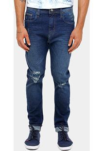 Calça Jeans Skinny Colcci Enrico Gancho Grande Rasgos Masculino - Masculino-Jeans