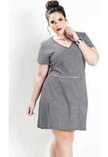 2603cbf95 ... Vestido Evasê Manga Curta Listrado Plus Size