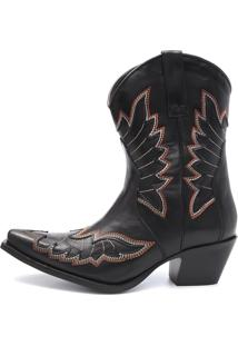 Bota Elite Country Bells Couro Preto