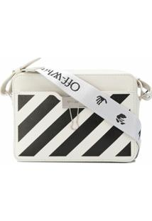 Off-White Bolsa Estruturada Pequena Com Listras Diagonais - Branco