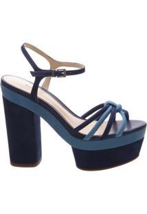 Sandália Duo Block Heel Dress Blue | Schutz