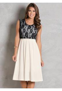 Vestido Off White Com Renda Moda Evangélica