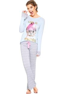 Pijama Any Any Meowtiful Azul/Rosa