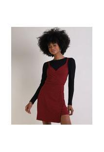 Vestido Feminino Curto Jacquard Estampado Xadrez Transpassado Vermelho