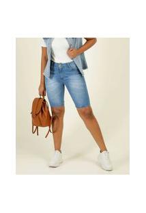 Bermuda Feminina Jeans Bolsos