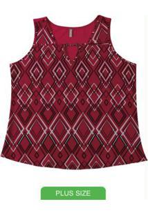 Blusa Sem Manga Estampada Vermelho