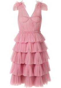 Dolce & Gabbana Vestido Acinturado Drapeado Em Tule - Rosa