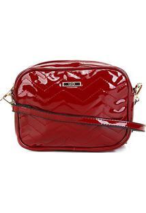 Bolsa Gash Mini Bag Verniz Alça Transversal Feminina - Feminino-Vermelho