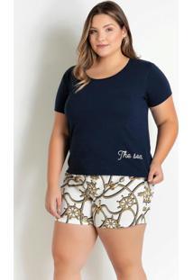 Pijama Plus Size Com Botões Marinho E Cordas