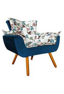 Poltrona Decorativa Opala Composê Estampado Floral D68 E Veludo Azul Marinho - D'Rossi