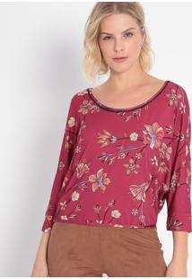 Blusa Floral Com Passamanaria- Bordô & Bege- Malweemalwee