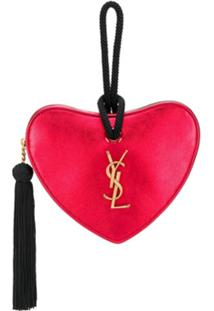 Saint Laurent Monogram Heart Metallic Clutch - Vermelho
