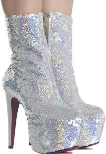 Bota Zariff Shoes Meia Pata Salto Fino Brilho Prata