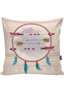 Capa Para Almofada Indians- Rosa & Bege Claro- 45X45Stm Home