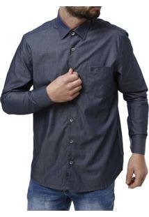 Camisa Manga Longa Masculina Elétron - Masculino-Marinho