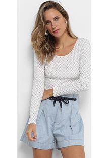 Body My Favorite Thing (S) Manga Longa Estampado Feminino - Feminino-Branco