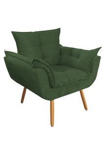 Poltrona Decorativa Opalla Pés Palito Verde - Ds Móveis