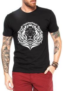 Camiseta Criativa Urbana Leão Tattoo - Masculino-Preto