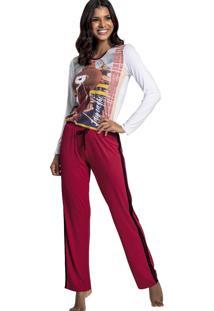 b2f52774b9c224 Pijama Recco Comprido Touch E Viscose Vermelho