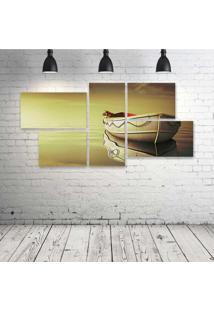 Quadro Decorativo - Life-Of-Pi-Boat-Tiger - Composto De 5 Quadros - Multicolorido - Dafiti
