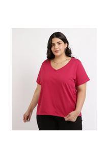Blusa Feminina Plus Size Manga Curta Decote V Vermelha