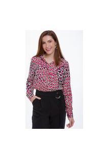 Blusa Viscose Camisa Feminina Olimpo Manga Longa Estampada Rosa