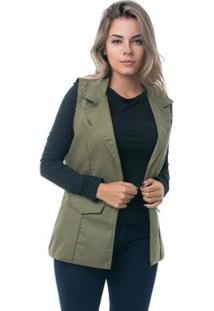 Colete Pkd Estruturado Militar Feminino - Feminino-Verde