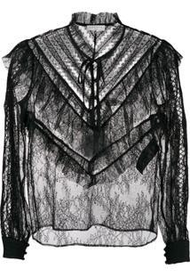 Sandro Paris Blusa Translúcida Com Renda - Preto