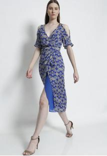 c2c5046d28 ... Vestido Em Seda Arabescos- Azul   Cinza Claro- Versaversace Collection