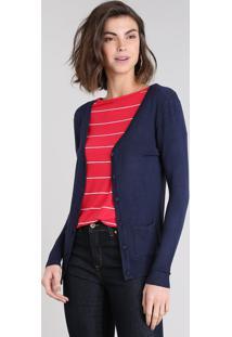 Cardigan Feminino Em Tricô Com Bolsos Azul Marinho