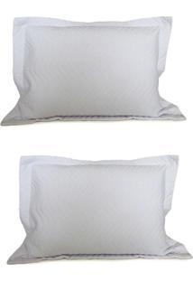 Kit Porta Travesseiro 2 Peças Matelassê 80X60 - Appel - Branco
