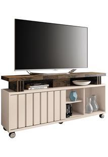 Rack Bancada Para Tv Até 50 Pol. 1.3 Briz H01 Off White/Deck - Mpozena